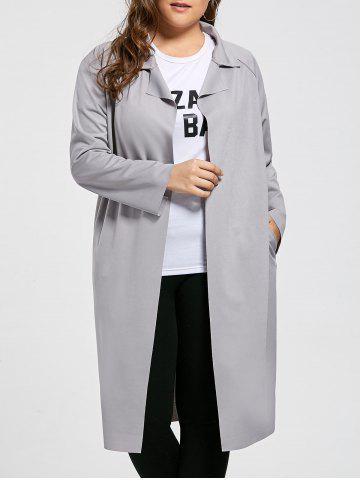 Buy Open Front Plus Size Lapel Longline Coat GRAY 3XL