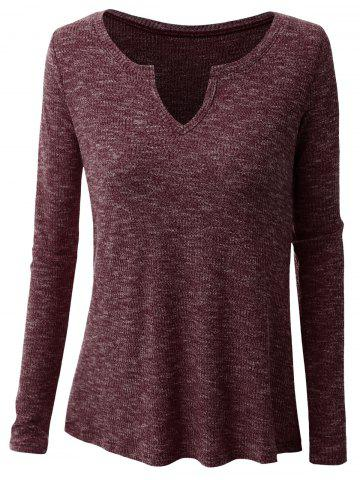 Fancy Cut Out Plus Size Knitwear - PURPLISH RED C5 3XL Mobile