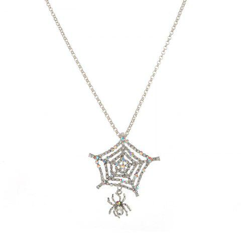 Fashion Rhinestone Charm Halloween Spider Web Necklace - SILVER  Mobile