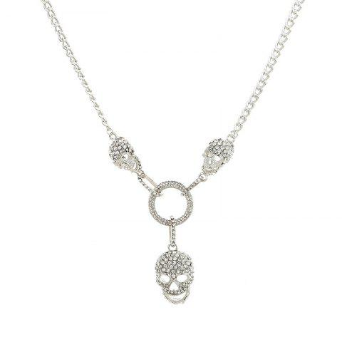 Online Halloween Rhinestoned Skull Circle Necklace - SILVER  Mobile