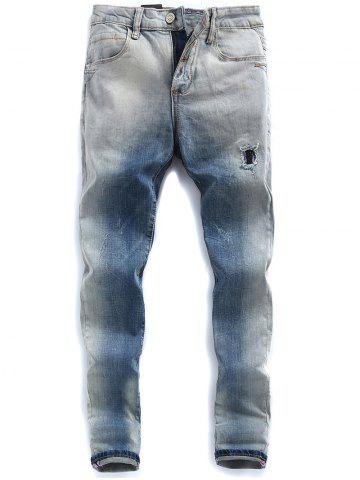 Light Wash Ombre Distressed Jeans Bleu clair 32