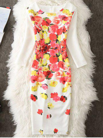 Latest Knee Length Floral Bodycon Dress - M WHITE Mobile