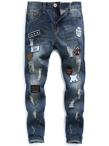 Online Zip Fly Patched Distressed Jeans - 32 BLUE Mobile