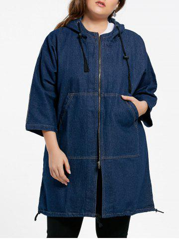 Chic Plus Size Denim Batwing Sleeve Coat BLUE XL