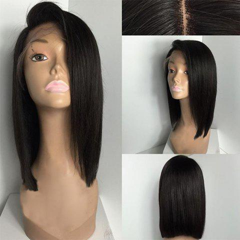 Latest Deep Side Part Medium Straight Bob Lace Front Human Hair Wig - NATURAL BLACK  Mobile