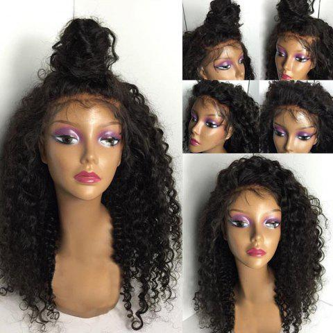 Discount Long Free Part Fluffy Kinky Curly Lace Front Human Hair Wig - NATURAL BLACK  Mobile