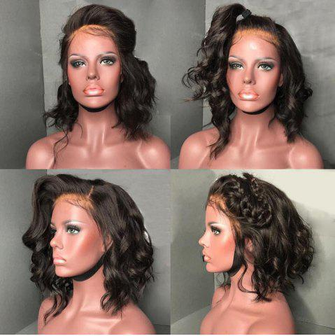 Outfit Short Fluffy Free Part Body Wave Lace Front Human Hair Wig - NATURAL BLACK  Mobile