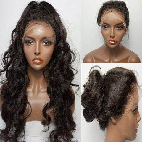 Unique Long Free Part Fluffy Wavy Lace Front Human Hair Wig - NATURAL BLACK  Mobile