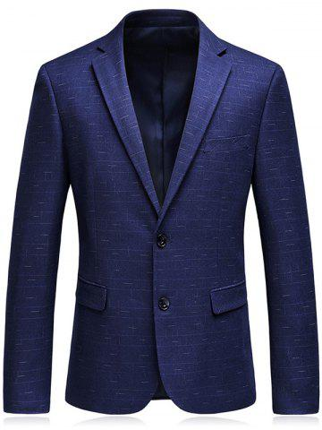 Stitching Design Lapel Single Blazer Blazer Bleu Foncé 3XL