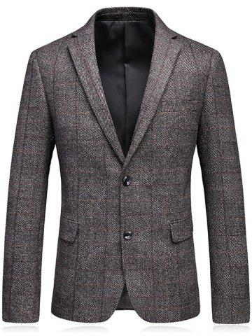 Shops Lapel Elbow Patch Checked Tweed Blazer - M COFFEE Mobile