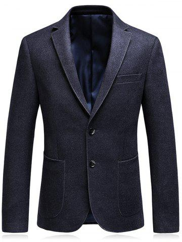 Trendy Single Breasted Lapel Collar Business Blazer - L DEEP GRAY Mobile