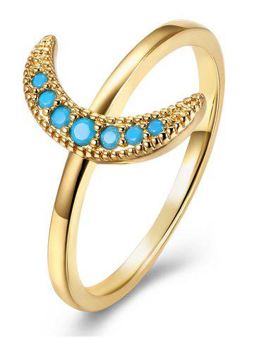 Latest Faux Gemstone Moon Circle Finger Ring GOLDEN 9