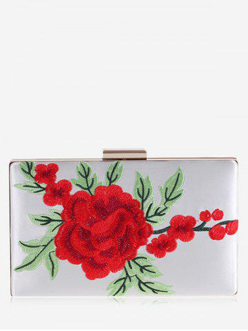 Hot Flower Embroidered Clutch Bag - WHITE  Mobile