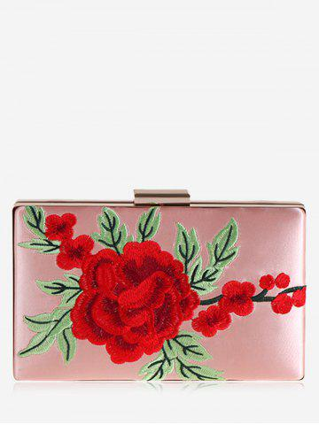 Sale Flower Embroidered Clutch Bag - PINK  Mobile