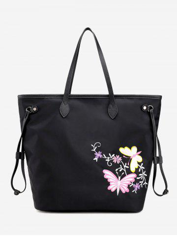 Shop Drawstring Flower Embroidery Shoulder Bag - BLACK  Mobile