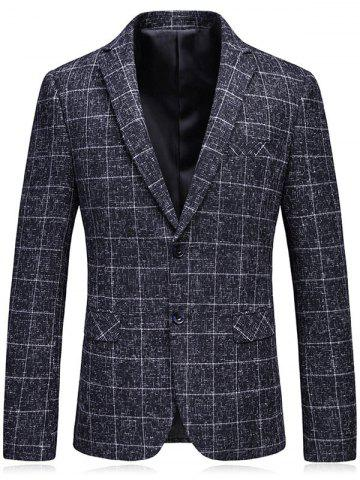Cheap Lapel Single Breasted Heathered Checked Blazer GRAY L