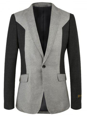 Chic Notch Lapel One-button Color Block Blazer GRAY 50