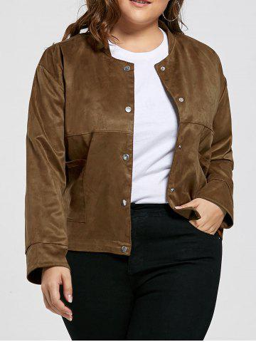 Fashion Vintage Plus Size Sueded Jacket with Pockets - 2XL COFFEE BROWN Mobile