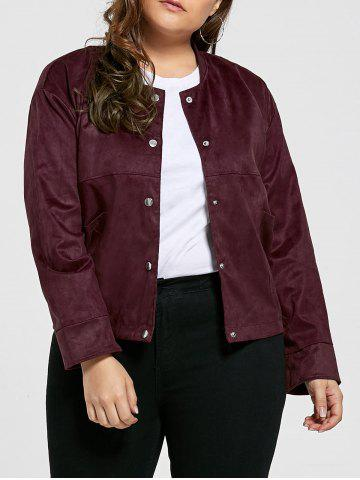 Discount Vintage Plus Size Sueded Jacket with Pockets - 3XL CLARET Mobile