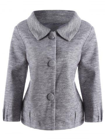 Trendy Wool Blend Button Up Plus Size Coat - 4XL GRAY Mobile