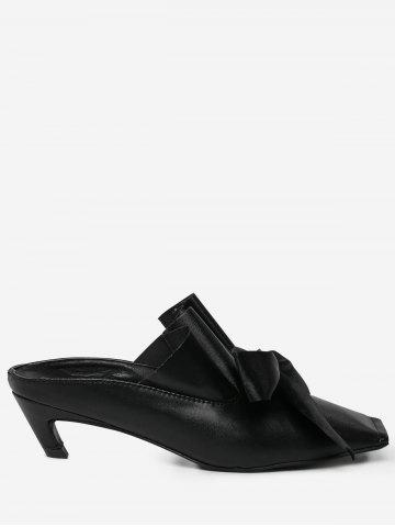 Fancy Bow Square Toe Mid Heel Slippers