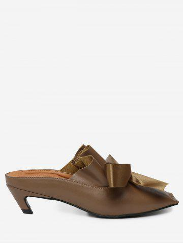 Hot Bow Square Toe Mid Heel Slippers - 39 BROWN Mobile
