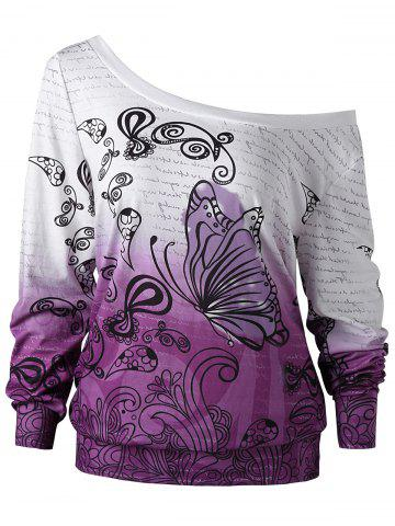Sweat-shirt Imprimé Papillon Ombré Encolure Cloutée Blanc + Violet 2XL