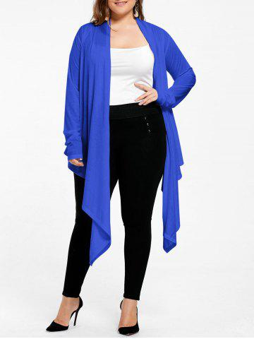 Trendy Open Front Long Plus Size Wrap Cardigan BLUE XL