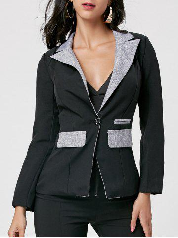 Chic One Button Blazer BLACK L