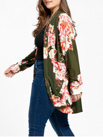 Chic Floral Print Plus Size Open Front Coat - 4XL GREEN Mobile