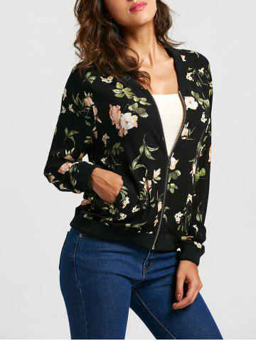 Chic Floral Leaf Print Zip Up Bomber Jacket - S COLORMIX Mobile