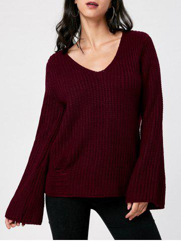 Affordable Ripped V Neck Chunky Sweater DARK RED 2XL