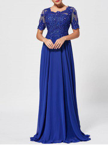 Cheap Floral Lace Rhinestone Maxi Prom Evening Dress