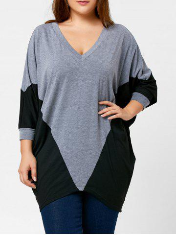Store Two Tone Plus Size Dolman Sleeve Top - 5XL BLACK AND GREY Mobile