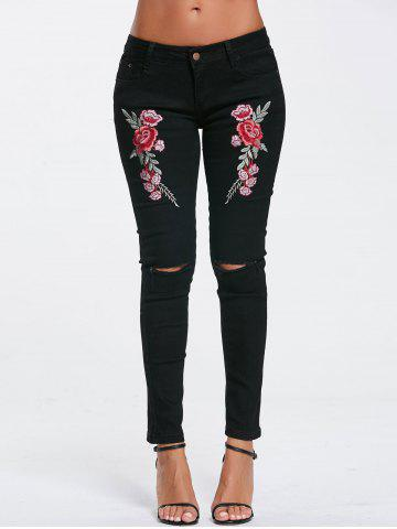 Online Ripped Embroidery Jeans BLACK S