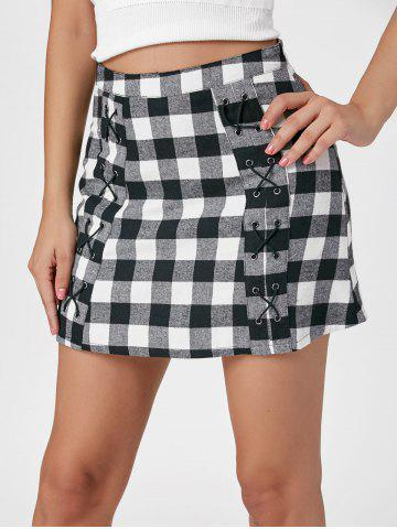 Gingham Lace Up Micro Skirt