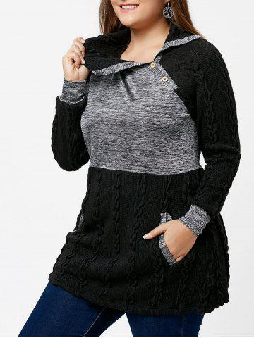 Buy Plus Size Pullover Pockets Cable Knit Sweater - Black 5xl