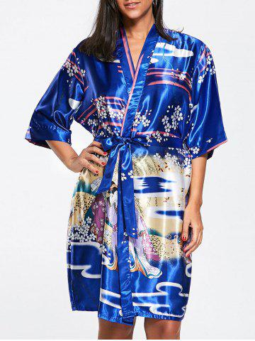 Outfits Floral Belted Satin Sleepwear Kimono