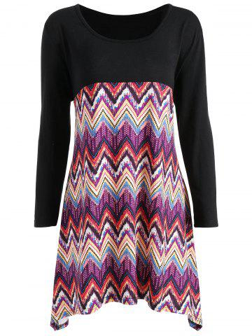 Chic Asymmetric Plus Size Geometric Tunic Top