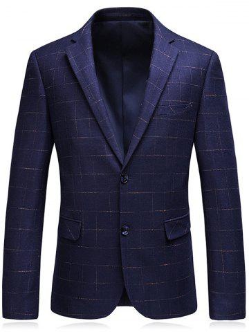 Lapel Single Breasted Checked Blazer