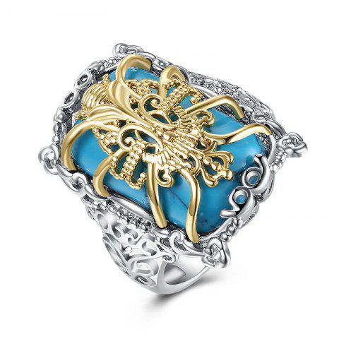 Chic Faux Gemstone Engraved Insect Geometric Ring