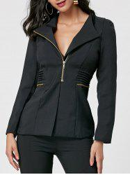 Zipper Ruched Tunic Blazer - Noir XL