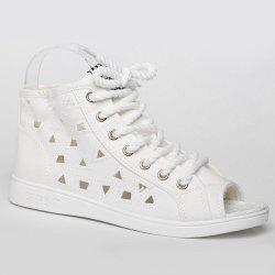 Peep Toe Hollow Out Canvas Shoes - WHITE 40