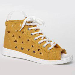 Peep Toe Hollow Out Canvas Shoes - YELLOW 38