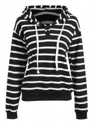 Striped Running Drawstring Hoodie -