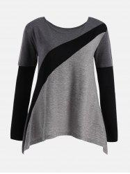 Color Block Plus Size Long Sleeve T-shirt -