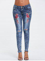 Ripped Embroidery Jeans - COLOR BLUE XL