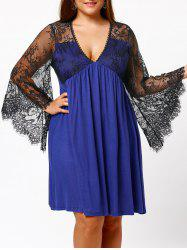 Plus Size Lace Sleeve Holiday Dress - BLUE 5XL