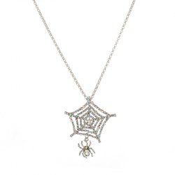 Rhinestone Charm Halloween Spider Web Necklace - SILVER