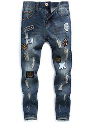 Zip Fly Patched Distressed Jeans - Bleu 32